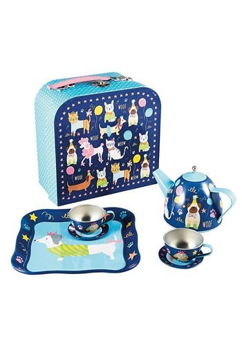 Pets Print Dogs and Cats 7 Piece Tin Tea Set in Case