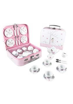 Fairy Blossom 17pc Porcelain Tea Set in Glittered Case