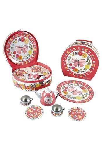 Butterflies 9pc Tin Tea Set in Round Case