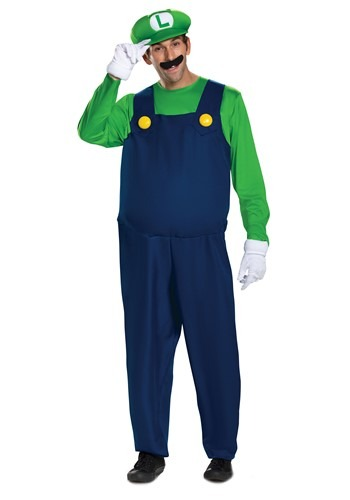 Luigi Super Mario Brothers Men's Deluxe Costume