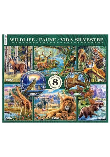8 in 1 300/500/750/1000 Piece Wildlife Puzzle Mult