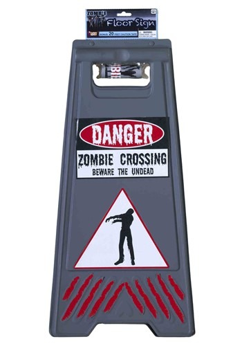 Flooring Sign with Tape Zombie Warning