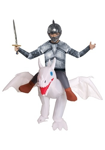 Inflatable White Ride on Dragon Costume for Kids