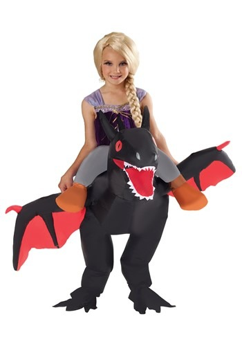 Inflatable Black Ride On Dragon Costume for Kids