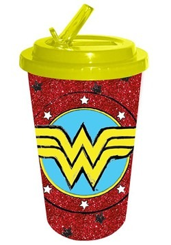 Wonder Woman Sketch Glitter 16oz Flip Straw Cold Cup