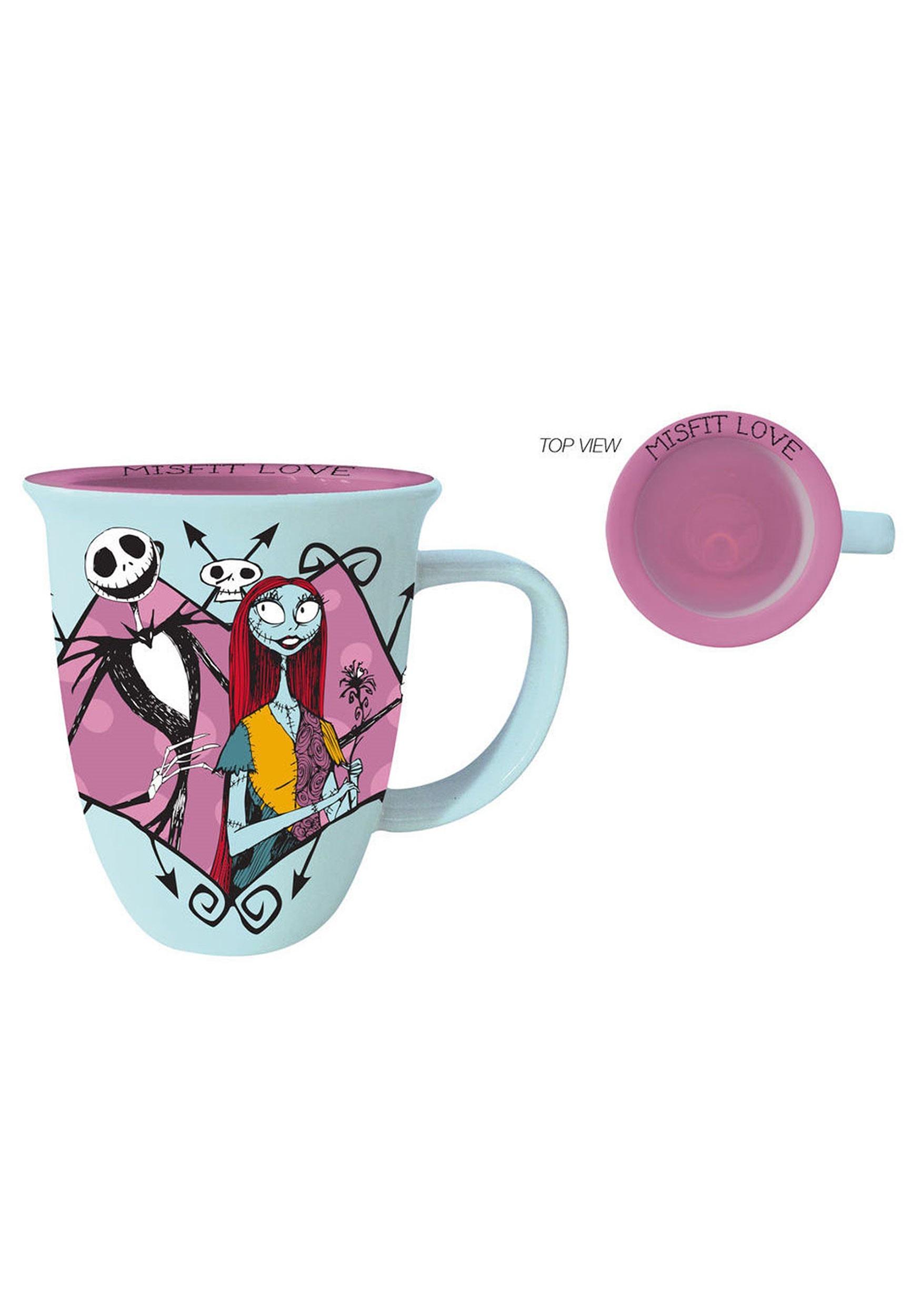 Nightmare Before Christmas Pink Heart Wide Rim Mug 16oz