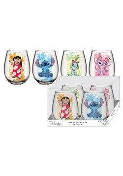 Lilo & Stitch 4pc 20oz Stemless Wine Glass Set