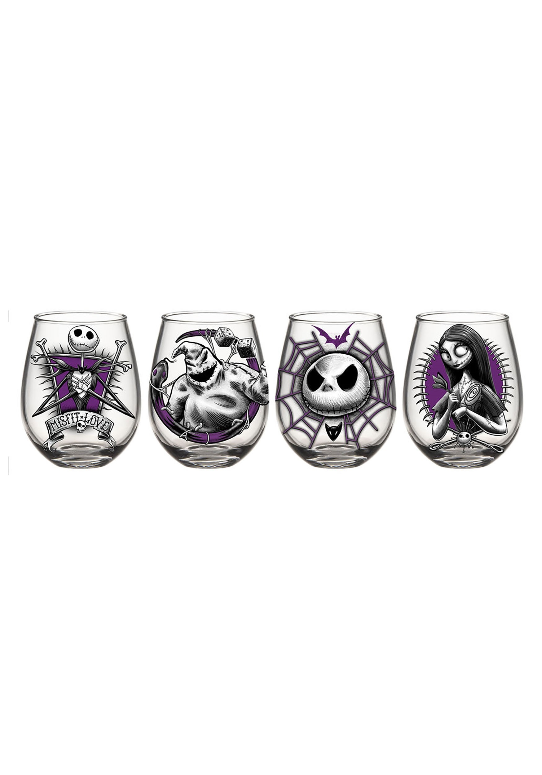 Nightmare before christmas 4pc 20oz stemless wine