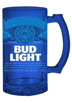 Bud Light Blue Label 16oz Glass Stein
