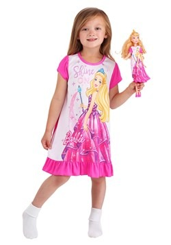 "Toddler Shine On Barbie Dorm Nightgown With 18"" Doll Gown 1"