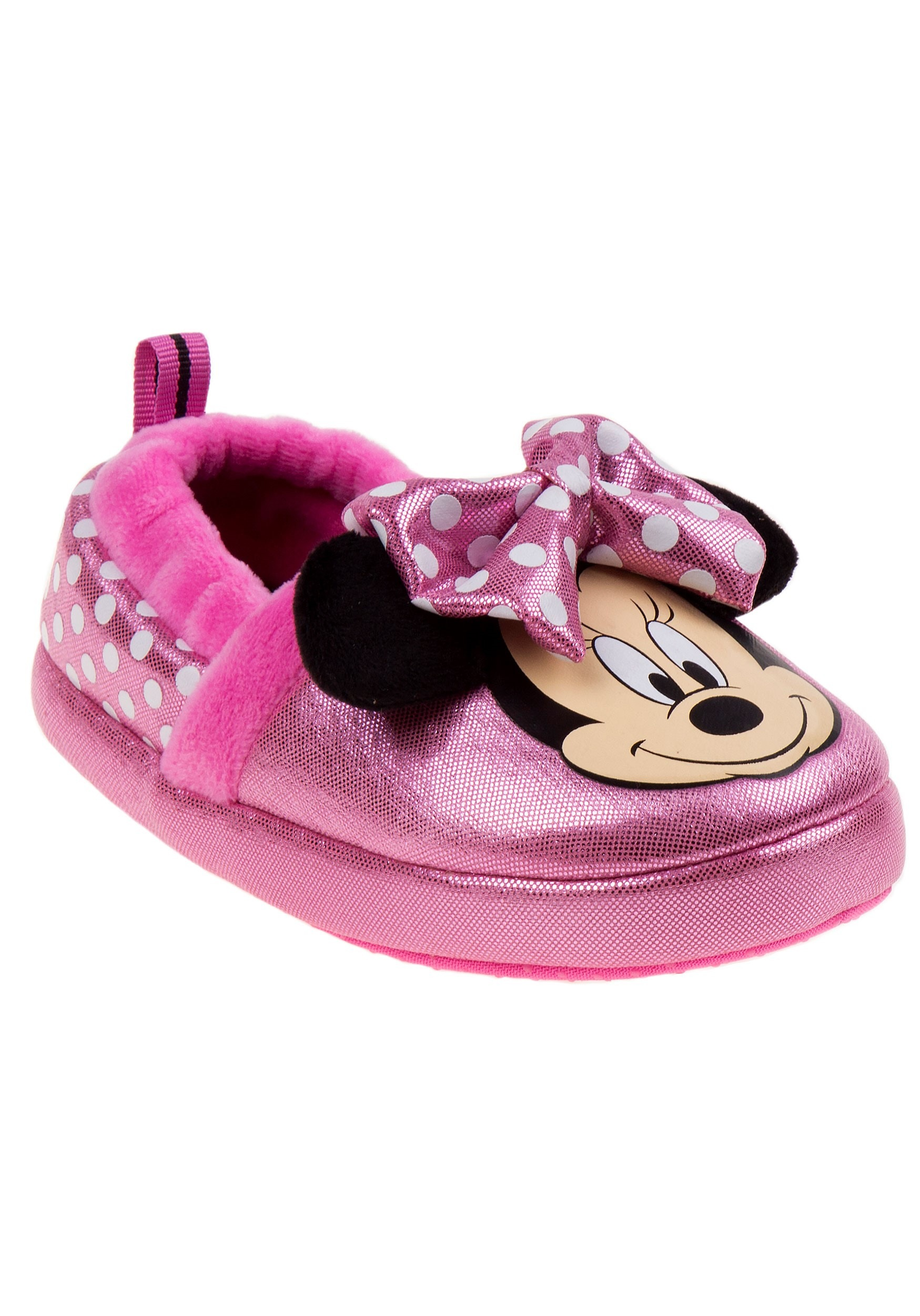 Disney Minnie Mouse Girls Pink Bow Slippers