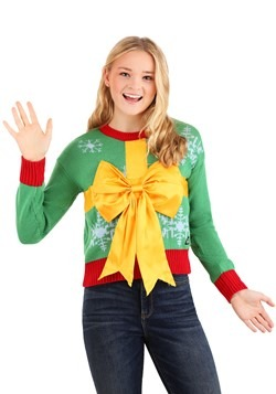 Juniors Christmas Gift Crop Top Ugly Christmas Sweater