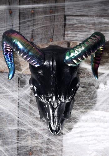 """Oil Slick Black Ram Skull 11"""""""