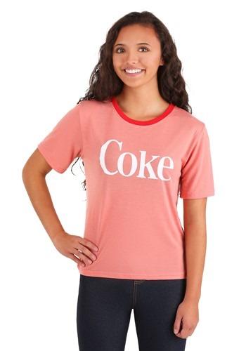 Juniors Enjoy Coke Red Contrast Neck Tee