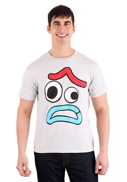 Men's Toy Story 4 Forky Worried Face Silver T-Shirt