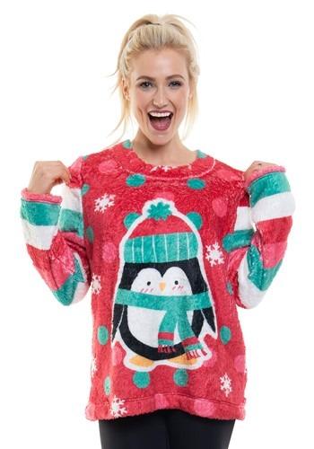 Ugly Christmas Penguin Womens Fleece Pullover