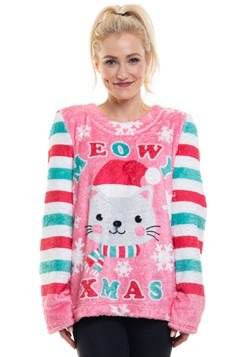 Womens Cat Meowy Xmas Ugly Fleece Pullover