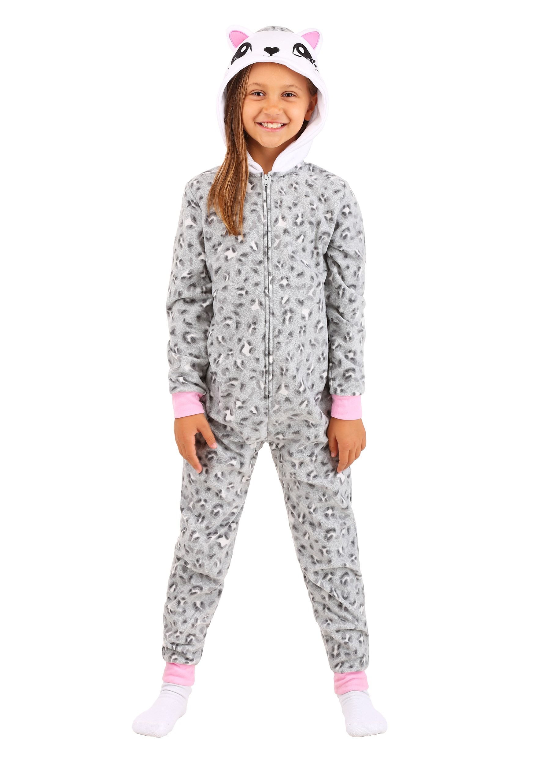 Grey Leopard Hooded Blanket Girls Sleeper