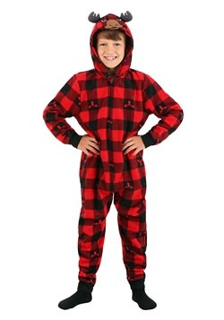 Boys Red Checkered Moose Hooded Blanket Sleeper