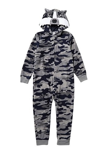 Boys Grey and Blue Camo Wolf Hooded Blanket Sleeper - from $24.99