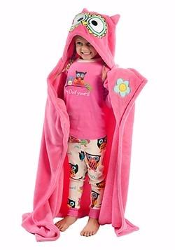 Pink Owl Critter Kids Hooded Blanket