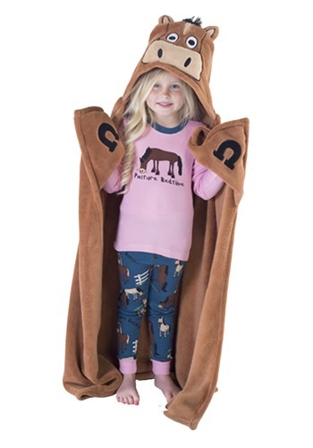 Brown Horse Critter Kids Hooded Blanket