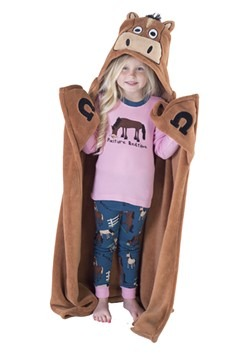 Brown Horse Critter Kids Hooded Blanket