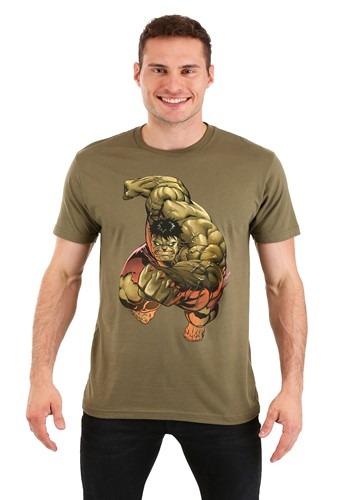 Men's Incredible Hulk Punch Olive Green T-Shirt