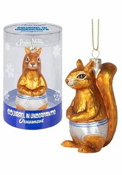 Archie McPhee Squirrel in Underpants Glass Ornament