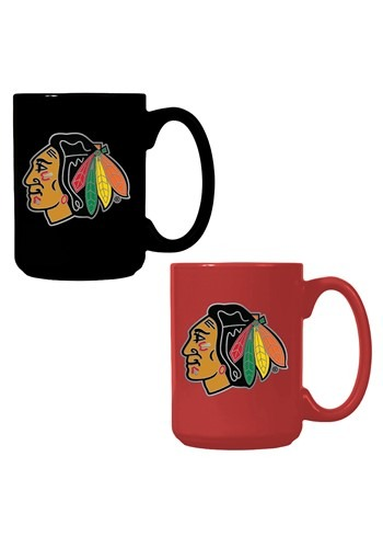 NHL Chicago Blackhawks 15oz. Ceramic Mug Gift Set