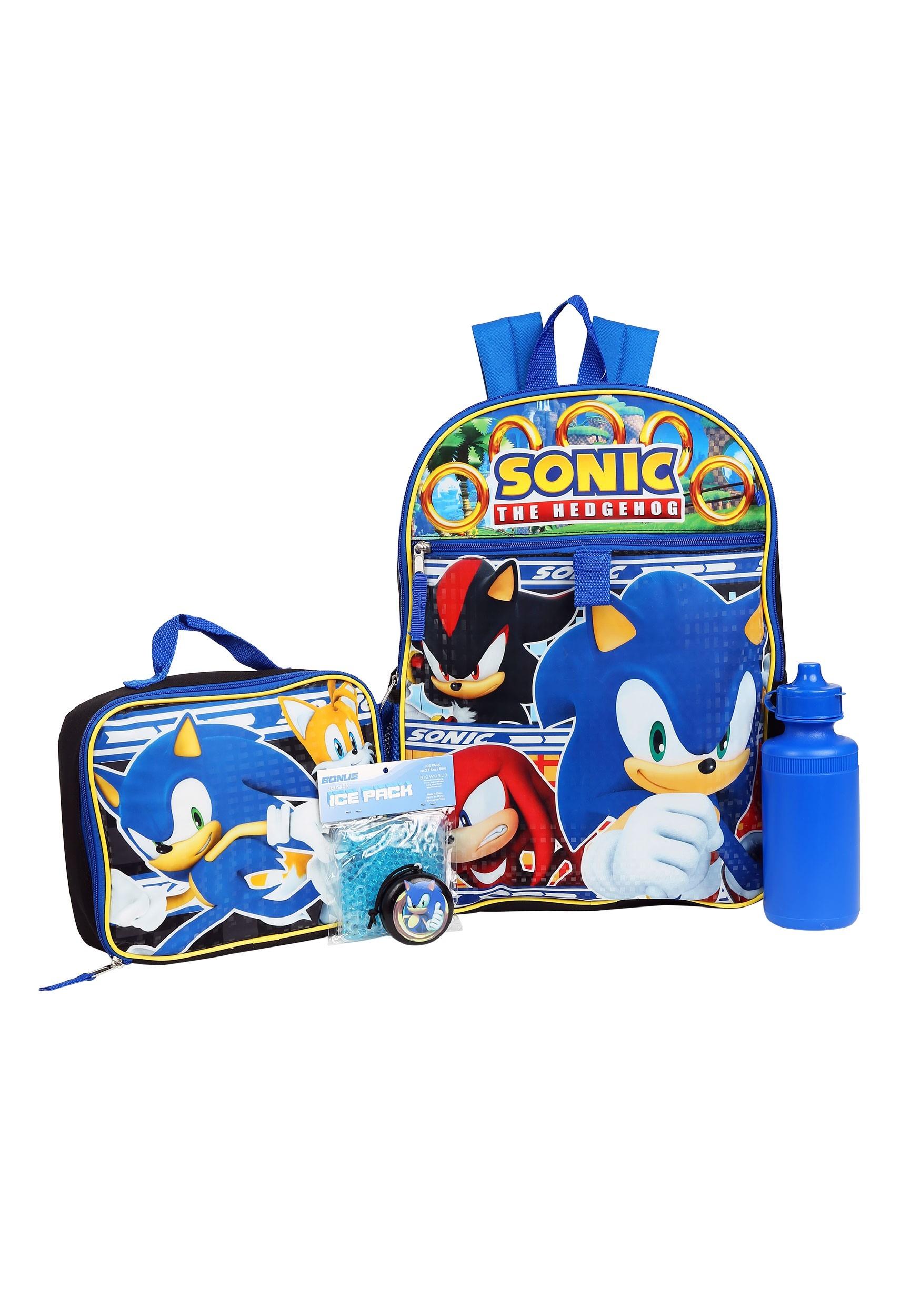 Sonic 5 Pc Backpack Set For Kids