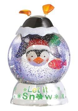 "Lighted LED Shimmer ""Let it Snow"" Penguin Dome Chr"