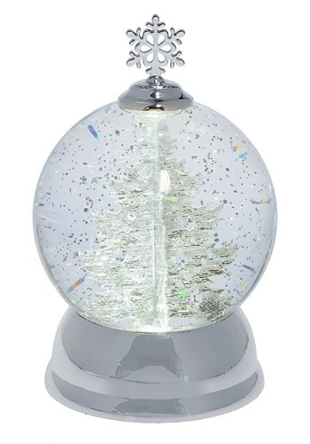 Lighted LED Rotating Shimmer Silver Tree Globe Chr