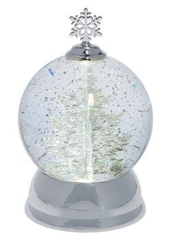 Lighted LED Rotating Shimmer Silver Tree Globe Chr