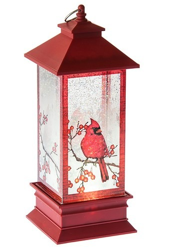 Lighted LED Shimmer Cardinal Lantern Christmas Dec