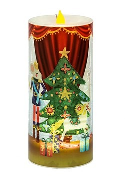 Lighted LED Shimmer Rotating Nutcracker Ballet Pillar Candle
