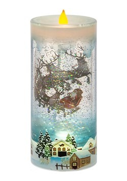 Lighted LED Shimmer Rotating Santa Scene Pillar Ca