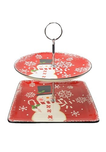 Two-Tier Snowman Ceramic Serving Tray