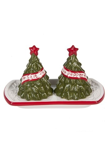 3 Piece Ceramic Christmas Tree Salt & Pepper with Tray Set