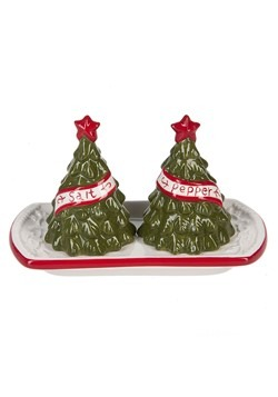 Christmas Tree Salt & Pepper with Tray (3 pc. set)