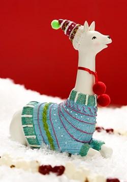 Fa la la la llama Sitting Figurine Christmas Decor