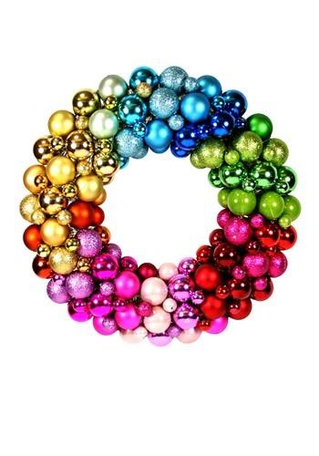 15 Rainbow Colors Christmas Ball Wreath