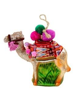 Christmas Camel Glass Ornament