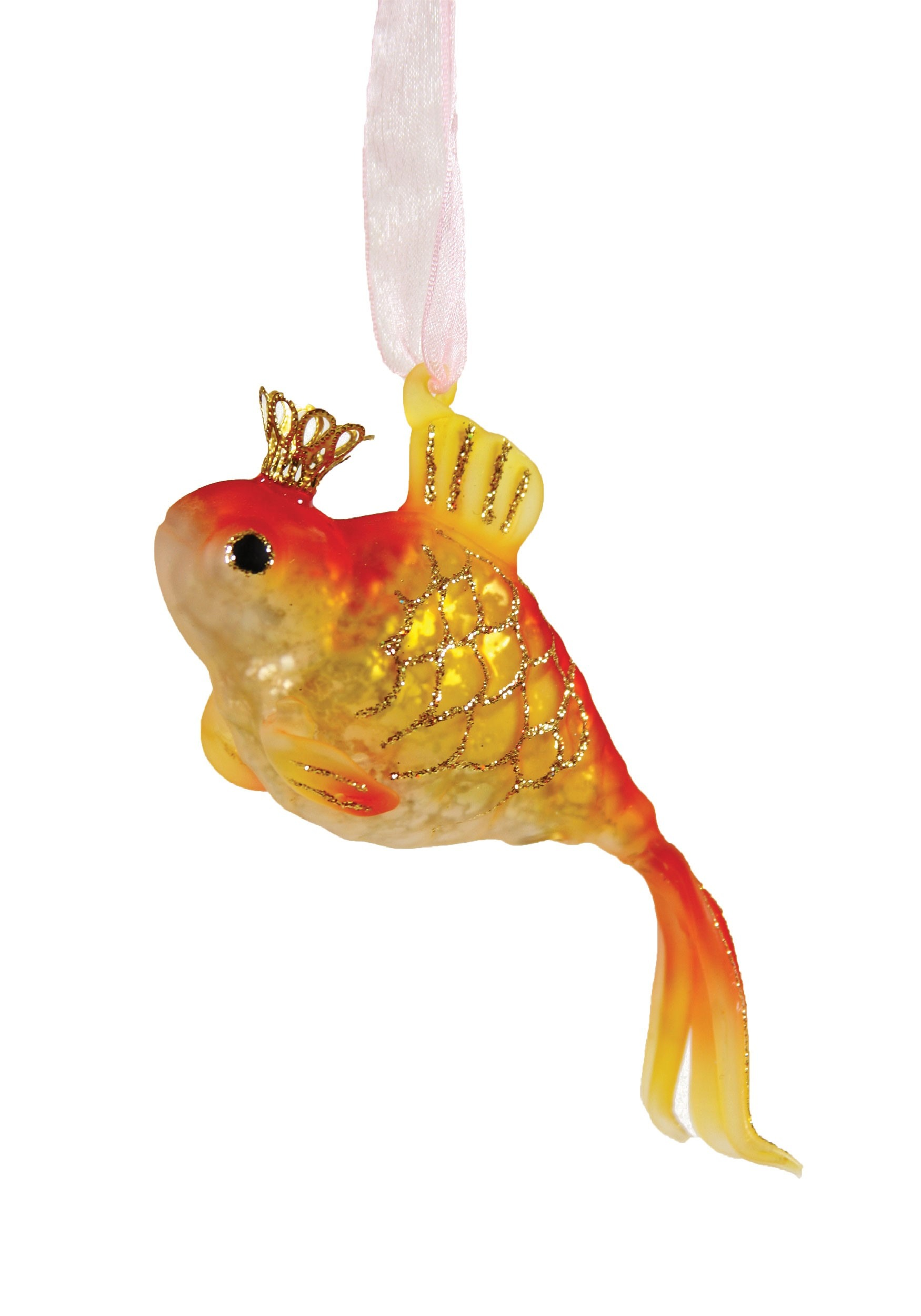 Glass Christmas Ornament Crowned Goldfish