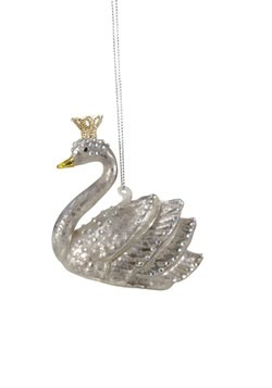 Crowned Swan Glass Christmas Ornament