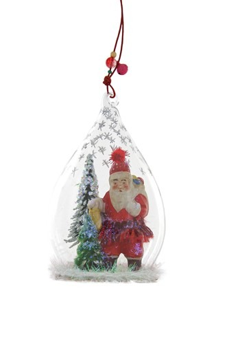 Father Christmas Glass Globe Ornament