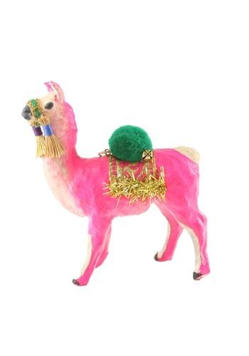 Festive Pink Llama Christmas Ornament