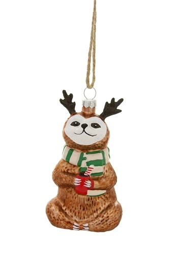 4 Festive Sloth Ornament