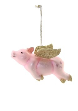 Flying Pig Glass Christmas Ornament