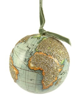 Glittered World Globe Ornament